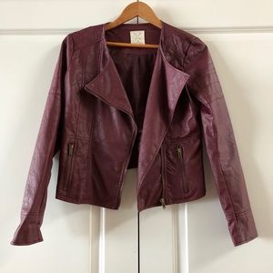 Urban Outfitters Maroon Faux Leather Jacket Size M